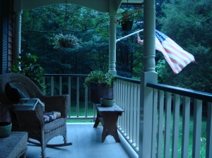 My front porch~ still raining lightly